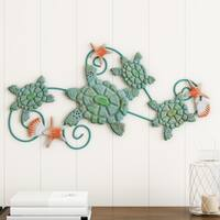 Sea Turtles Wall Art with Shells and Starfish- Nautical 3D Metal Hanging Décor- by Lavish Home