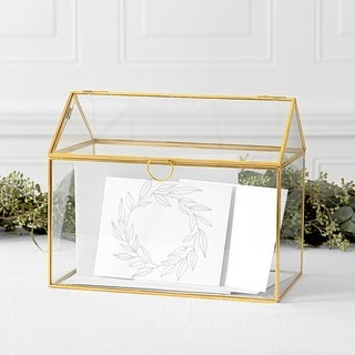 Gold Wreath Glass Terrarium Reception Gift Card Holder