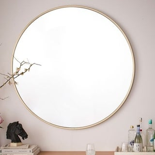 Katsikis Brushed Gold Metal Round Accent Mirror
