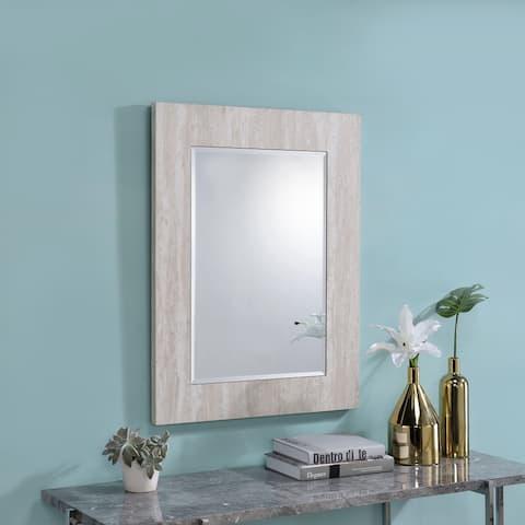 Furniture of America Vel Modern White 31-inch Rectangular Wall Mirror