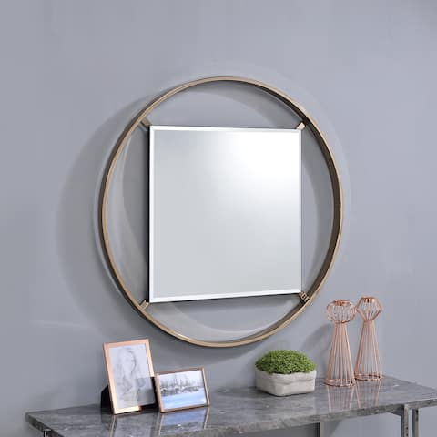 Furniture of America Eugene 5mm Round Beveled Wall Mirror - A/N