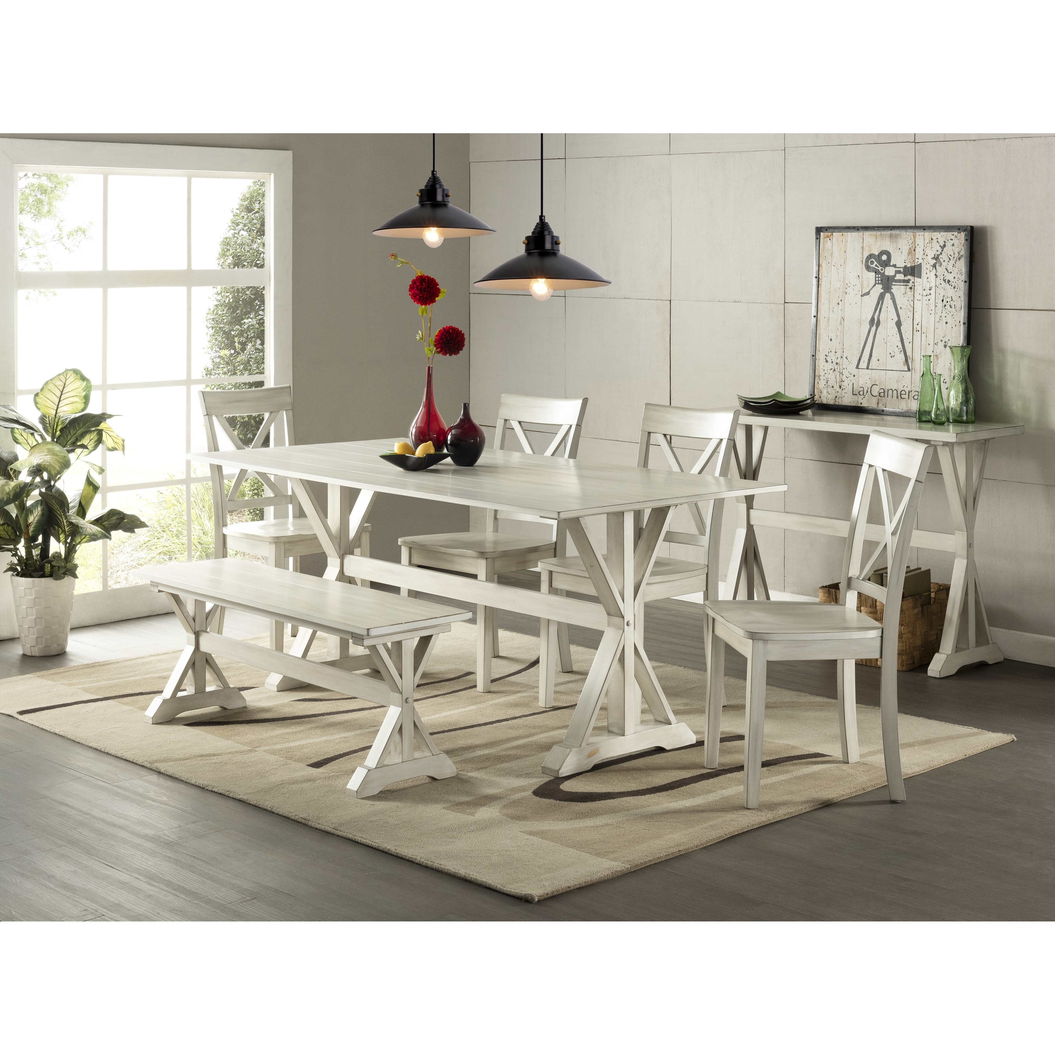 Distressed White Dining Room Set