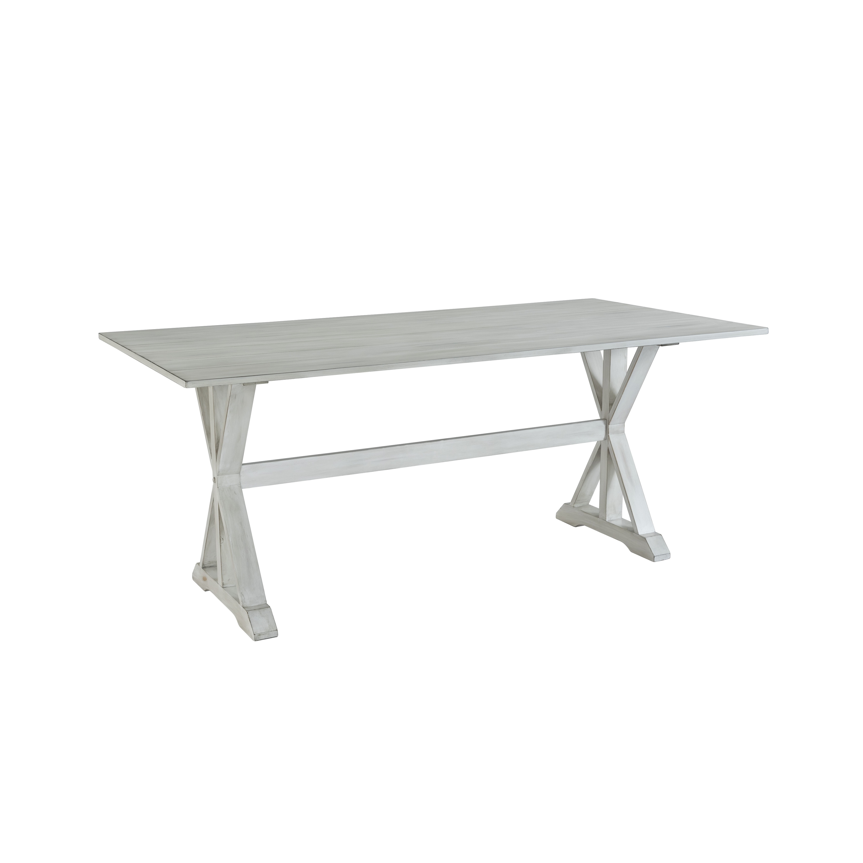 Farmhouse Distressed White Trestle Dining Table