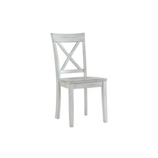Jamestown Farmhouse Distressed White Dining Chair, Set of 2