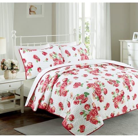 Cozy Line Darrius 3 Piece Floral Quilt Set - Green/Red/White - Green/Red/White