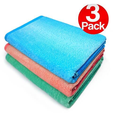 Kaufman - Extra Large Velour Ombre-Jaquard Beach & Pool Towel Set - 3 Pc Pack