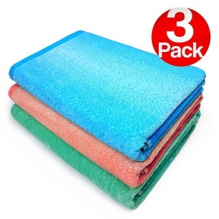 Kaufman - Extra Large Velour Ombre-Jaquard Beach & Pool Towel Set - 3 Pc Pack