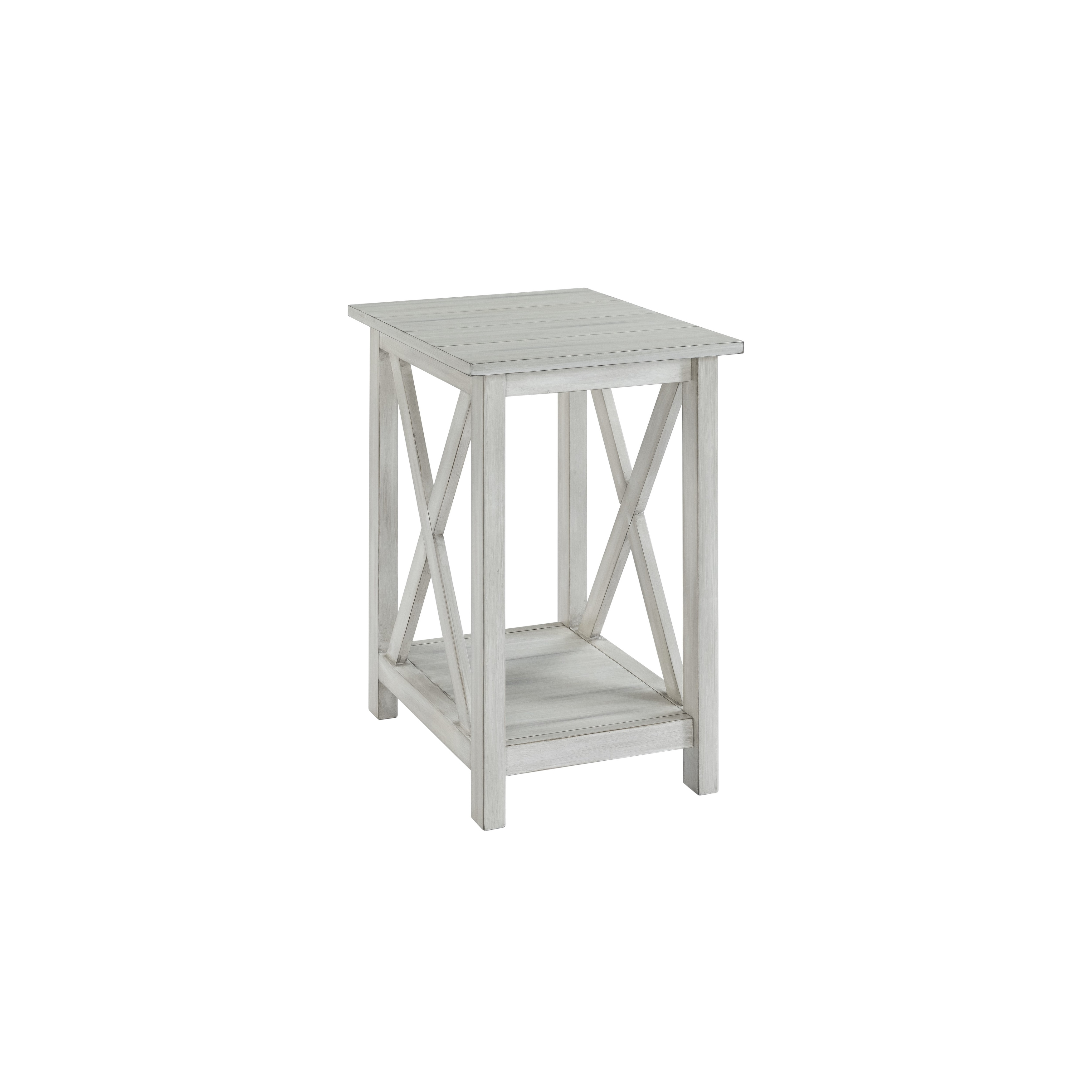 Jamestown Distressed White Wood Side Table