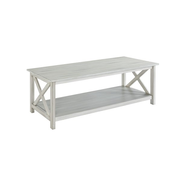 Shop Jamestown Distressed White Wood Coffee Table