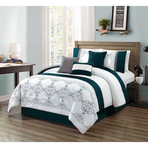 Asher Home Charlie Teal Medallion 7-piece Comforter Set