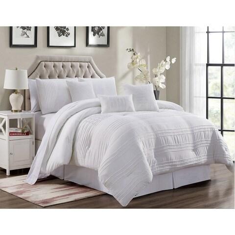 Asher Home Viviana White Pleated 7-piece Comforter Set