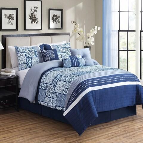 Asher Home Charleston Blue Patchwork 7-piece Comforter Set