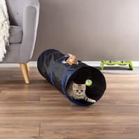 Collapsible Cat Tunnel- Interactive Play Tube for Cats, Kittens, Rabbits, Pets With Ball Toy by PETMAKER - black