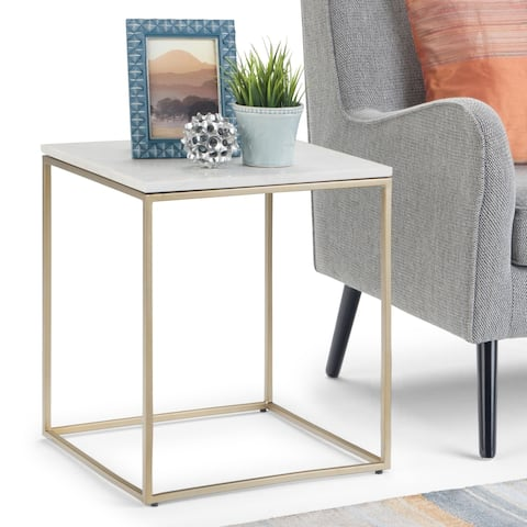 "Silver Orchid Stolz Modern Industrial Accent Table - 18"" W x 18"" D x 23"" H"