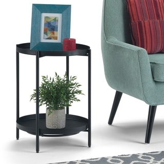 """WYNDENHALL Lipton  and Metal 17 inch Wide Round Modern Industrial Metal End Table in Black - 16.9"""" dia. x 22.2"""" h"""