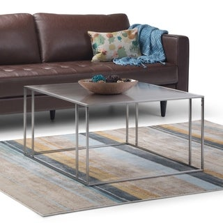 "Silver Orchid Rooney Stainless Steel Coffee Table - 31.5"" W x 31.5"" D x 18.25"" H"