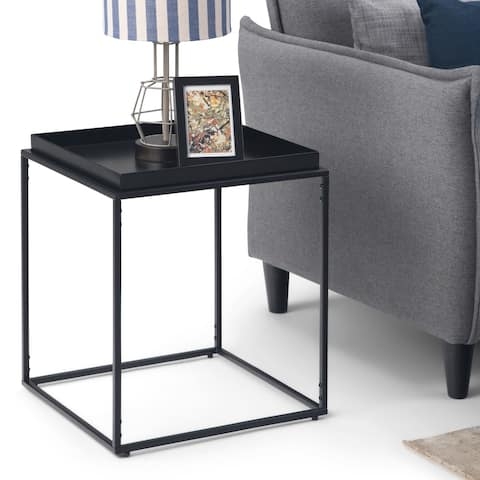 """WYNDENHALL Morton Modern Industrial 17 inch Wide Metal Tray Top End Table in Black - 17.25"""" W x 17.25"""" D x 20.25"""" H"""