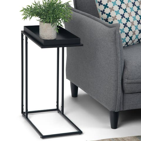 """WYNDENHALL Morton Modern Industrial 18 inch Wide Metal Tray Top C Side Table in Black - 10"""" W x 18"""" D x 23.25"""" H"""
