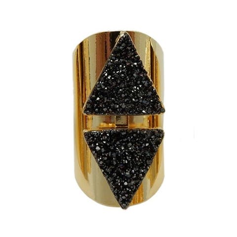 Double Triangle Druzy Adjustable Ring