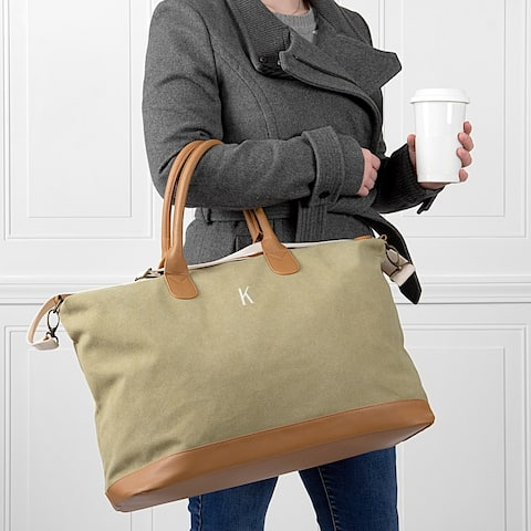 Personalized Light Green Washed Canvas Weekender