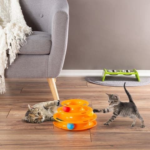 Interactive Cat Toy Ball Roller Tower- 3 Level Tiered Round Track with Rolling Balls for Cats and Kittens for Play by PETMAKER