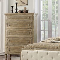 Emerald Home Interlude Sandstone Gray Dresser  with Jewelry Storage, Turned Wood Legs, And Vintage Look Hardware,