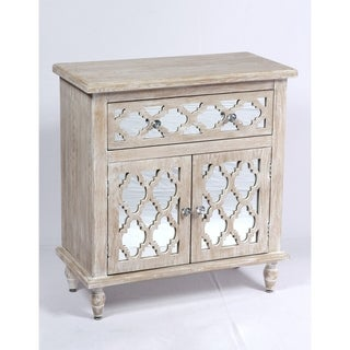 Emerald Home Canterwood Whitewash and Mirror Accent Cabinet with Lattice Detailing And Hardworking Storage And Organization