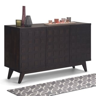 WYNDENHALL Ervine Solid Mango Wood 54 inch Wide Mid Century Modern Sideboard Buffet in Chestnut Brown