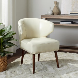 Carson Carrington Arbuckle Cream Faux Leather Accent Chair