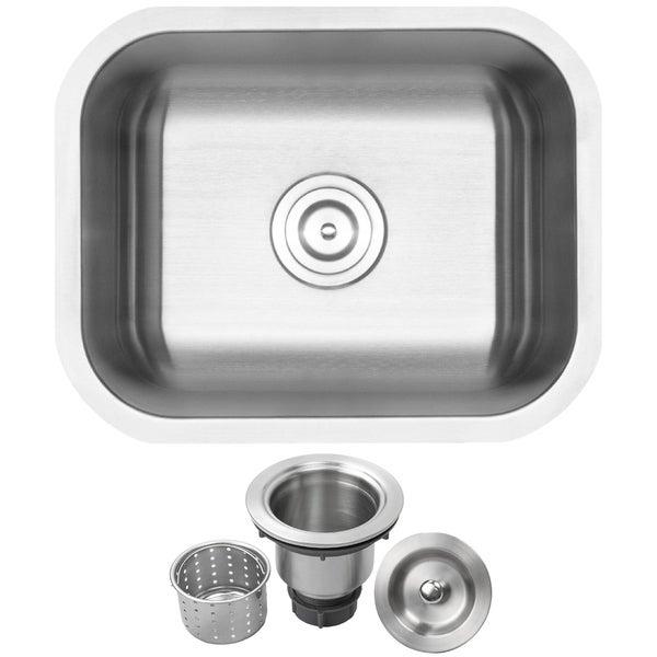 "20"" Ticor L19 18-Gauge Stainless Steel Undermount Single Basin Kitchen and Bar Sink"