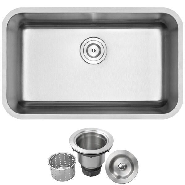 """30"""" Ticor S117 16-Gauge Stainless Steel Undermount Single Basin Kitchen Sink"""