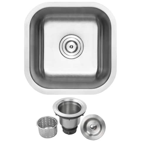 "16"" Ticor L21 18-Gauge Stainless Steel Undermount Single Basin Kitchen and Bar Sink"