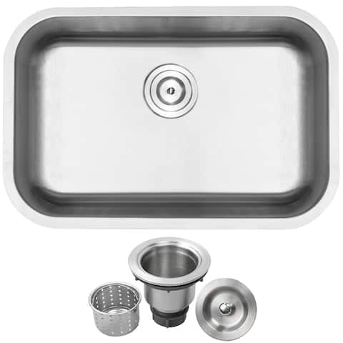 "27"" Ticor L18 18-Gauge Stainless Steel Undermount Single Basin Kitchen Sink"