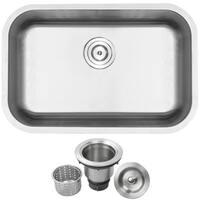 "27"" Ticor L18 18-Gauge Stainless Steel Undermount Single Basin Kitchen Sink"