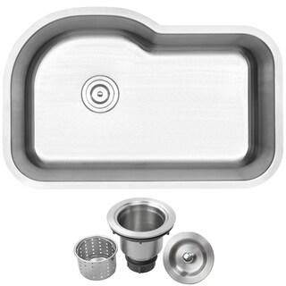 "31.75""  Ticor L41 18-Gauge Stainless Steel Undermount Single Basin Kitchen Sink"