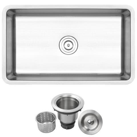"""30"""" Ticor SR24 18-Gauge Stainless Steel Undermount Single Basin Kitchen Sink"""