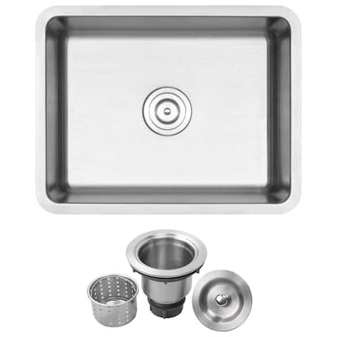 "23"" Ticor SR23 18-Gauge Stainless Steel Undermount Single Basin Kitchen/Laundry Sink"
