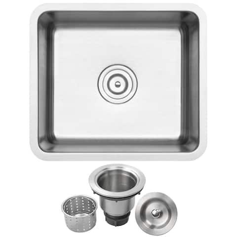 "19"" Ticor SR21 18-Gauge Stainless Steel Undermount Single Basin Kitchen and Bar Sink"