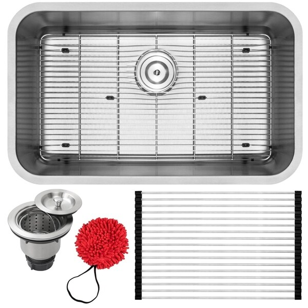 "30"" Ticor S117 16-Gauge Stainless Steel Undermount Single Basin Kitchen Sink with Accessories"