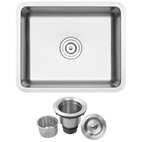 "21"" Ticor SR22 18-Gauge Stainless Steel Undermount Single Basin Kitchen/Laundry Sink"