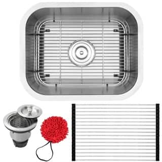 """20"""" Ticor L19 18-Gauge Stainless Steel Undermount Single Basin Kitchen and Bar Sink with Accessories"""