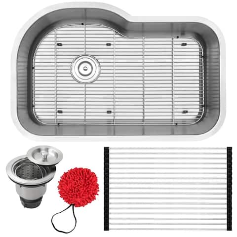 "31.75"" Ticor L41 18-Gauge Stainless Steel Undermount Single Basin Kitchen Sink with Accessories"