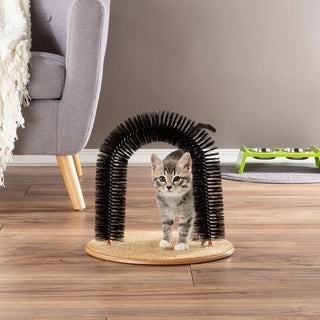 Self Grooming Cat Arch- Bristle Ring Brush and Carpet Base Groomer, Massager, Scratcher by PETMAKER