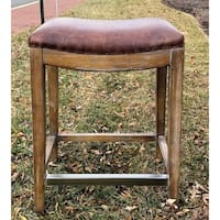 "Darby 26"" Vintage Brown Leather Bar Stool"