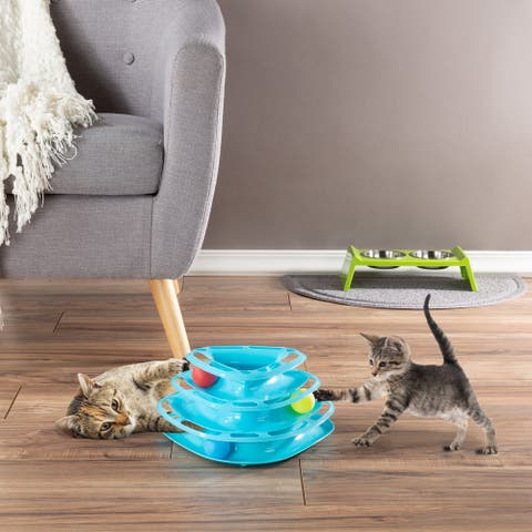 Interactive Cat Toy Ball Roller Tower- 3 Level Tiered Triangle Track with Rolling Balls for Cats and Kittens by PETMAKER