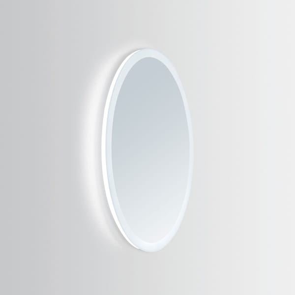 Innoci-USA Apollo Oval Wall Mount Aluminum Frame 24 x 36-inch Vanity Mirror With Energy Efficient LED Lighting