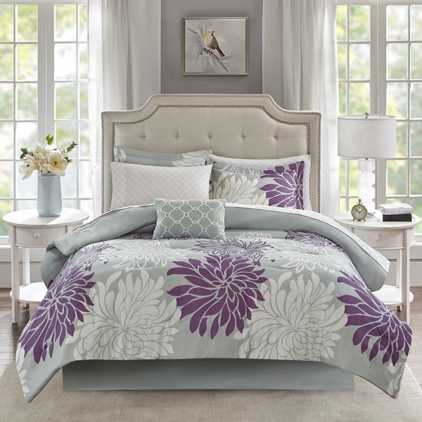 shop madison park essentials caldwell purple 9 piece king size comforter and cotton sheet set. Black Bedroom Furniture Sets. Home Design Ideas