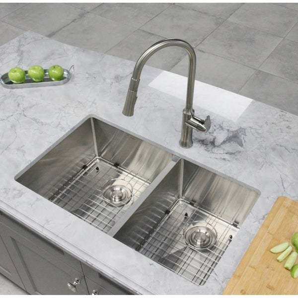 32 Kitchen Sink 60 40 16 Gauge Stainless Steel