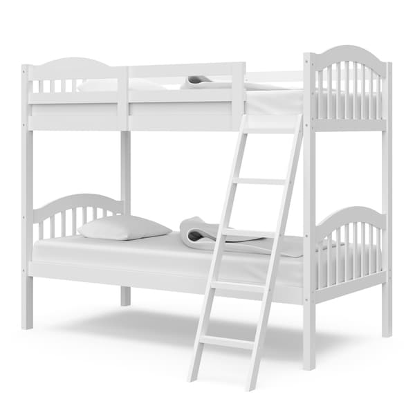 Storkcraft Longhorn Hardwood Twin Bunk Bed - with Ladder and Safety Rail