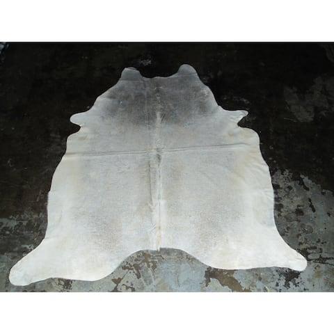 """Rare White Cowhide Rug - 7.08 feet x 7.58 feet/85"""" x 91"""" - 7.08 feet x 7.58 feet/85"""" x 91"""""""